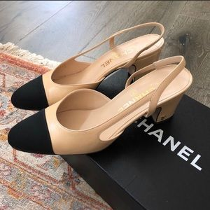Chanel Slingback 37.5 EU/ 7 US 💯 authentic
